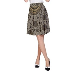 White Vintage Frame With Sepia Targets A Line Skirt