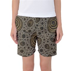 White Vintage Frame With Sepia Targets Women s Basketball Shorts