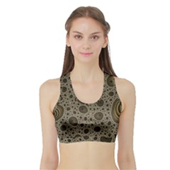 White Vintage Frame With Sepia Targets Sports Bra with Border