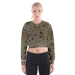 White Vintage Frame With Sepia Targets Cropped Sweatshirt