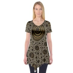 White Vintage Frame With Sepia Targets Short Sleeve Tunic