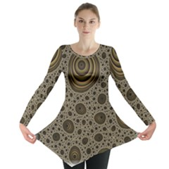 White Vintage Frame With Sepia Targets Long Sleeve Tunic