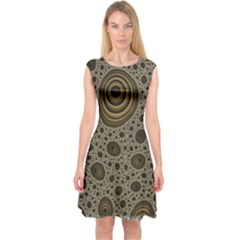 White Vintage Frame With Sepia Targets Capsleeve Midi Dress