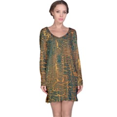 Black And Yellow Color Long Sleeve Nightdress