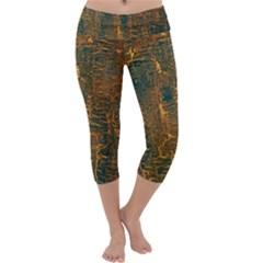 Black And Yellow Color Capri Yoga Leggings