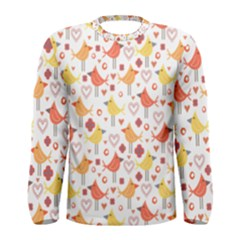 Happy Birds Seamless Pattern Animal Birds Pattern Men s Long Sleeve Tee
