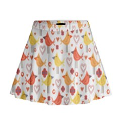 Happy Birds Seamless Pattern Animal Birds Pattern Mini Flare Skirt