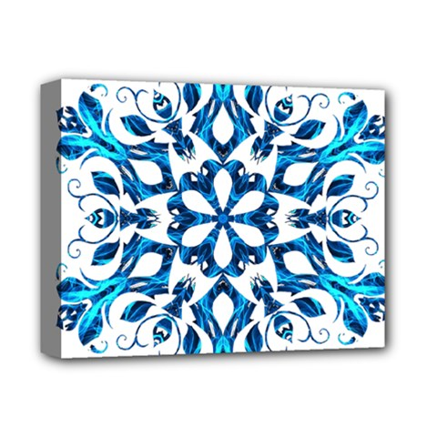Blue Snowflake On Black Background Deluxe Canvas 14  x 11