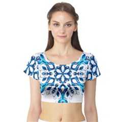 Blue Snowflake On Black Background Short Sleeve Crop Top (tight Fit)