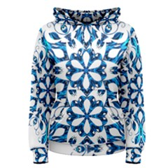 Blue Snowflake On Black Background Women s Pullover Hoodie