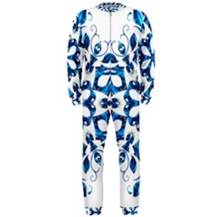 Blue Snowflake On Black Background Onepiece Jumpsuit (men)