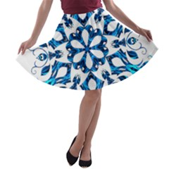 Blue Snowflake On Black Background A-line Skater Skirt