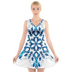Blue Snowflake On Black Background V Neck Sleeveless Skater Dress