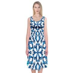 Blue Snowflake On Black Background Midi Sleeveless Dress