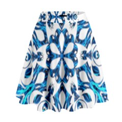 Blue Snowflake On Black Background High Waist Skirt