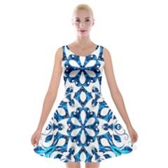 Blue Snowflake On Black Background Velvet Skater Dress