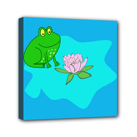 Frog Flower Lilypad Lily Pad Water Mini Canvas 6  x 6