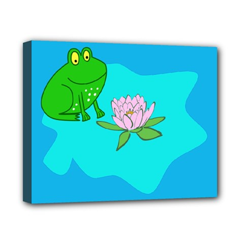 Frog Flower Lilypad Lily Pad Water Canvas 10  x 8