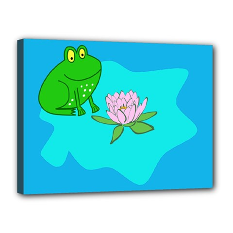 Frog Flower Lilypad Lily Pad Water Canvas 16  X 12