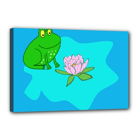 Frog Flower Lilypad Lily Pad Water Canvas 18  x 12