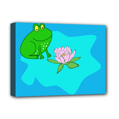 Frog Flower Lilypad Lily Pad Water Deluxe Canvas 16  x 12
