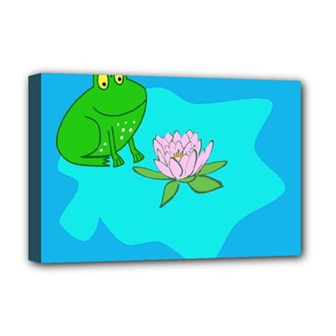 Frog Flower Lilypad Lily Pad Water Deluxe Canvas 18  X 12