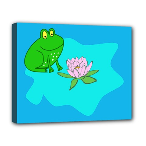 Frog Flower Lilypad Lily Pad Water Deluxe Canvas 20  x 16
