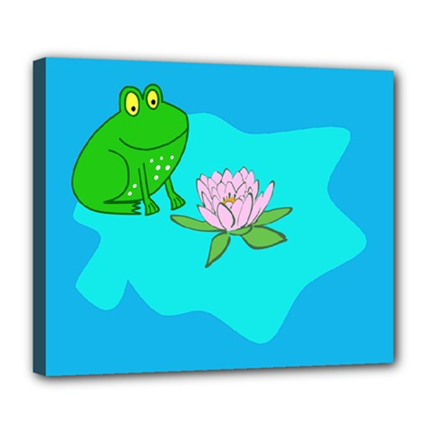 Frog Flower Lilypad Lily Pad Water Deluxe Canvas 24  x 20