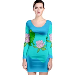 Frog Flower Lilypad Lily Pad Water Long Sleeve Bodycon Dress