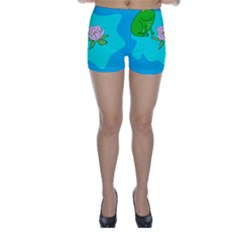 Frog Flower Lilypad Lily Pad Water Skinny Shorts