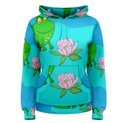 Frog Flower Lilypad Lily Pad Water Women s Pullover Hoodie