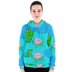 Frog Flower Lilypad Lily Pad Water Women s Zipper Hoodie