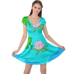 Frog Flower Lilypad Lily Pad Water Cap Sleeve Dresses