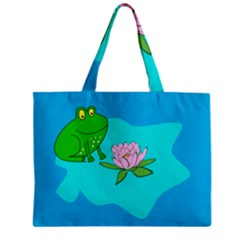 Frog Flower Lilypad Lily Pad Water Zipper Mini Tote Bag