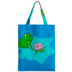 Frog Flower Lilypad Lily Pad Water Zipper Classic Tote Bag