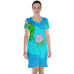 Frog Flower Lilypad Lily Pad Water Short Sleeve Nightdress