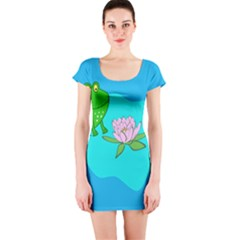 Frog Flower Lilypad Lily Pad Water Short Sleeve Bodycon Dress