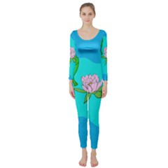 Frog Flower Lilypad Lily Pad Water Long Sleeve Catsuit