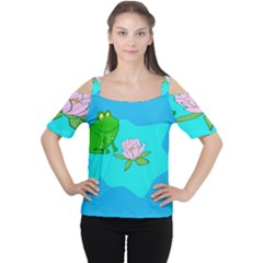 Frog Flower Lilypad Lily Pad Water Women s Cutout Shoulder Tee