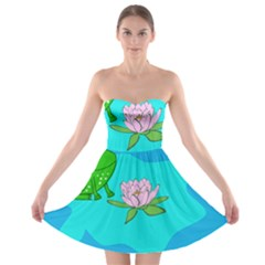 Frog Flower Lilypad Lily Pad Water Strapless Bra Top Dress