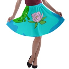 Frog Flower Lilypad Lily Pad Water A-line Skater Skirt