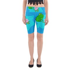 Frog Flower Lilypad Lily Pad Water Yoga Cropped Leggings