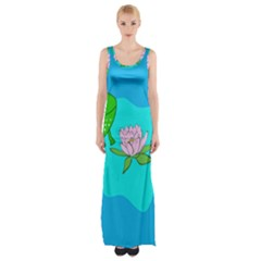 Frog Flower Lilypad Lily Pad Water Maxi Thigh Split Dress