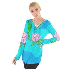 Frog Flower Lilypad Lily Pad Water Women s Tie Up Tee