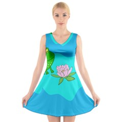 Frog Flower Lilypad Lily Pad Water V Neck Sleeveless Skater Dress