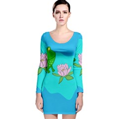 Frog Flower Lilypad Lily Pad Water Long Sleeve Velvet Bodycon Dress