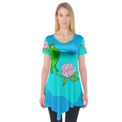 Frog Flower Lilypad Lily Pad Water Short Sleeve Tunic