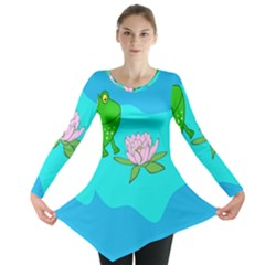 Frog Flower Lilypad Lily Pad Water Long Sleeve Tunic