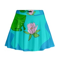 Frog Flower Lilypad Lily Pad Water Mini Flare Skirt