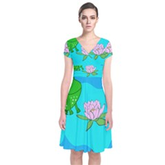 Frog Flower Lilypad Lily Pad Water Short Sleeve Front Wrap Dress